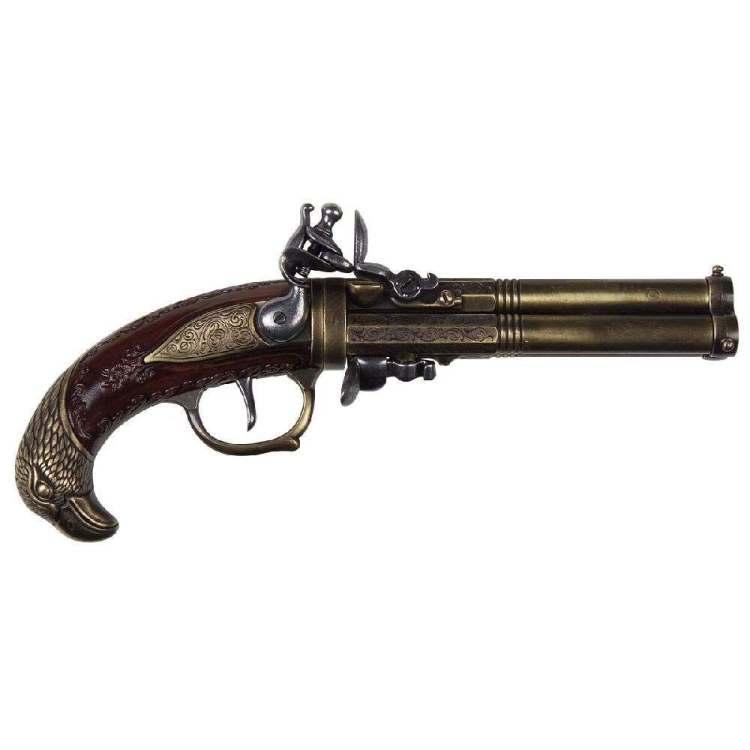 Steinschloss-Pistole Drei Läufe