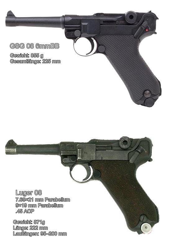 Bild Pistole Luger P 08 6mmBB Vollmetall Kniegelenk frei ab 18 Abb. Nr. 09