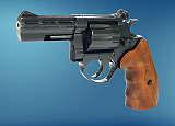 Revolver  ME 38 Magnum-4 R lang  brüniert  Holzgriff