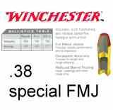 Winchester .38 Special FMJ 130gr 100 Schuss